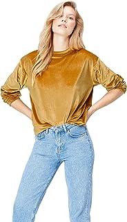Find 女式丝绒褶皱袖子运动衫