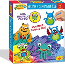 Peachy Keen Crafts Monster Shrink Art Kit - Complete Shrinky Activity Set with 4 Hinging Designs, Googly Eyes and Colored Pencils