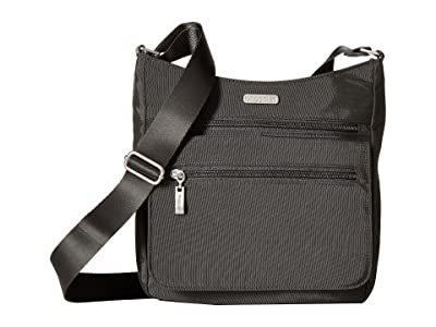 Baggallini Legacy Top Zip Flap Crossbody with RFID Wristlet (Charcoal) Cross Body Handbags