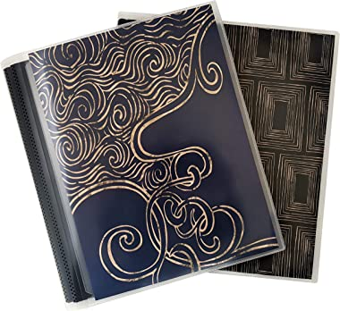 CocoPolka 8x10 Photo Albums Pack of 2 - Each Large Format Flexible Photo Album Holds Up to 48 8x10 Photos in Black Pockets. R