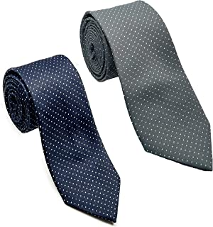 Luxeis Men Premium Neck Tie Combo (Gray, Navy Blue; Free Size) (Pack of 2)