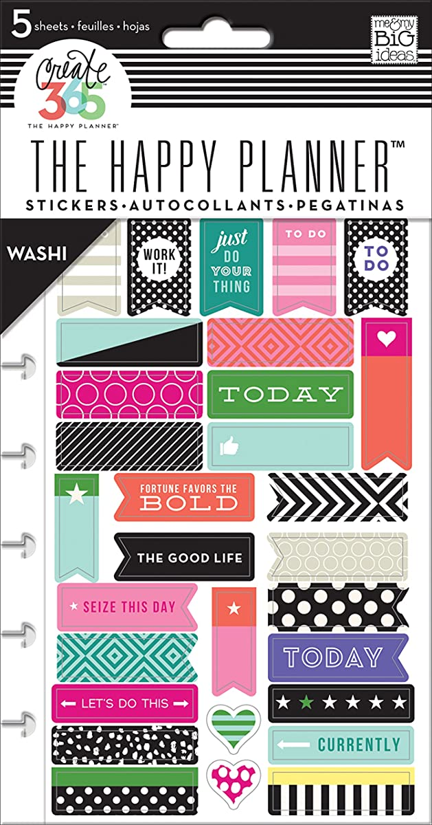 me & my Big Ideas Create 365 The Happy Planner Washi Sticker Pack, 5 Sheets