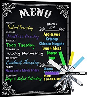 Magnetic Weekly Menu Planner for Refrigerator or Wall: 5 Bright Neon Chalk Markers: Weekly Meal Planner Blackboard and Grocery List Notepad; Chalkboard Whiteboard Magnet 16