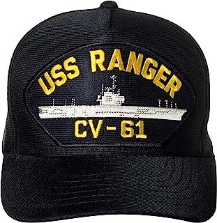 United States Navy USS Ranger CV-61 Supercarrier Ship Emblem Patch Hat Navy Blue Baseball Cap