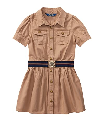 Polo Ralph Lauren Kids Tissue Chino Shirtdress (Little Kids) (Khaki) Girl