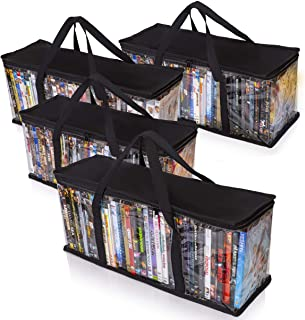Besti Premium Quality Home DVD Storage Bags (4-Pack) Holds 160 Total Movies or Video Games, Blu-ray, | Convenient Travel C...