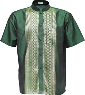 Thai Silk Men's Short Sleeve Shirt Mandarin Band Collar Casual