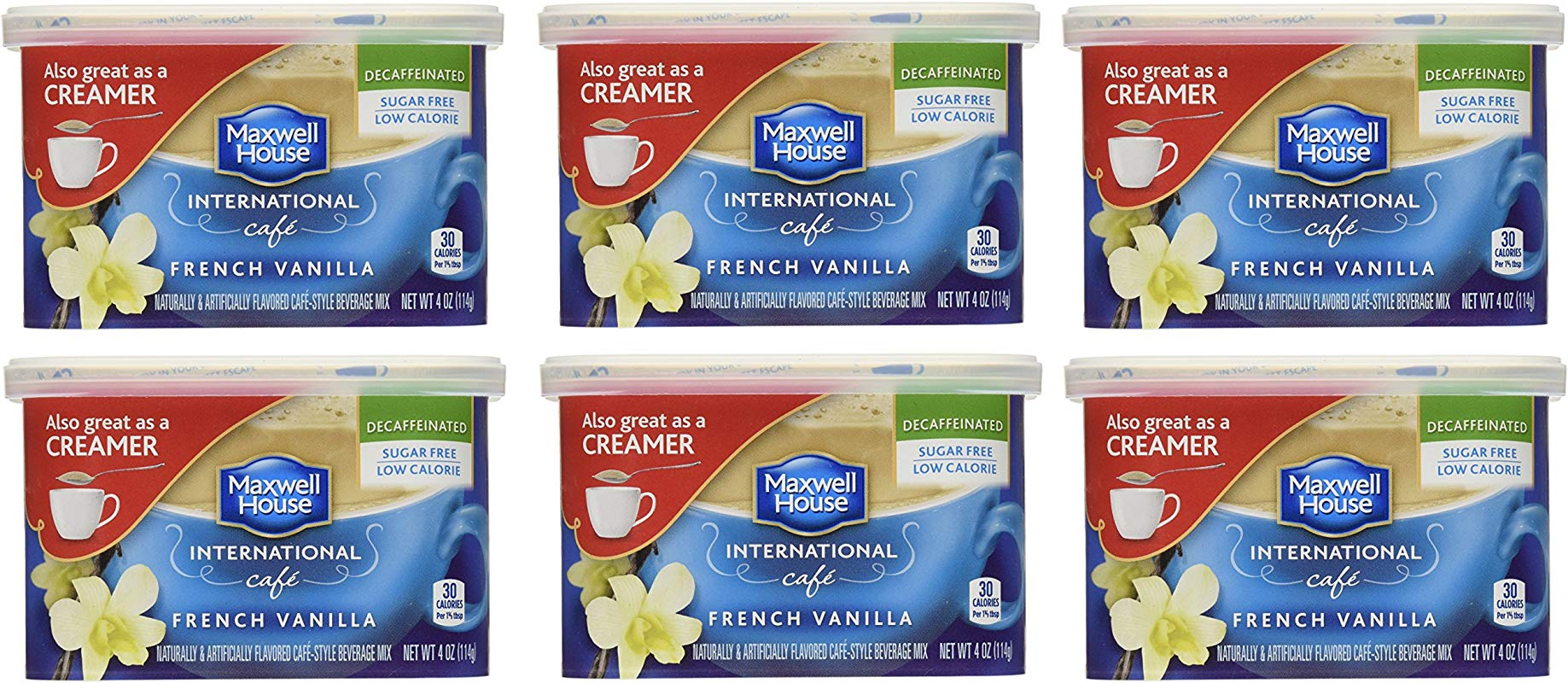 Maxwell House International Coffee Decaf Sugar Free French Vanilla Caf 4 Ounce Cans Pack Of 6
