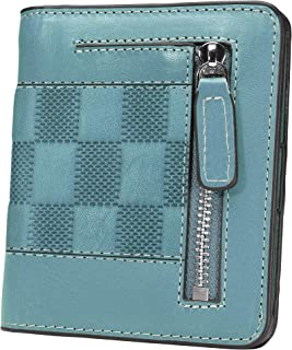 AINIMOER Small Leather Wallet for Women, Ladies Credit Card Holder RFID Blocking Women's Mini Bifold Pocket Purse, Stitched Gray Blue