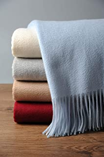 EP Mode 100% Pure Cashmere Throw Blanket for Sofa, Classic Design with Gift Box (Baby Blue)