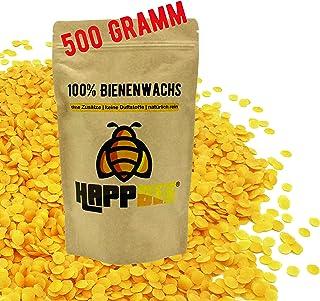 HappBee 500 Gramm Vorteilspack 100% Reine natürliche Premium Marken Bienenwachs Pastillen cera alba aus Deutschland in Kosmetikqualität vom Imker Naturkosmetik, Kerzenherstellung