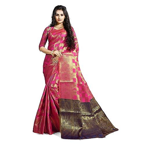 833dec06d54 Ruchika Fashion Art Silk Saree with Blouse Piece (Mimosa Dark Pink Dark  Pink One Size)
