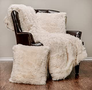 Chanasya 3-Piece Super Soft Shaggy Throw Blanket Pillow Cover Set - Chic Fuzzy Faux Fur Elegant Cozy Fleece Sherpa Throw (50x65) and Two Throw Pillow Covers (18x 18)- for Bed Couch Chair Sofa - Cream
