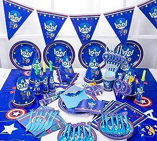 MEILIS Captain America Theme Party Disposable Tableware Decoration Supplies Christmas Table Cloth for Kids Favor - 90 Piec...