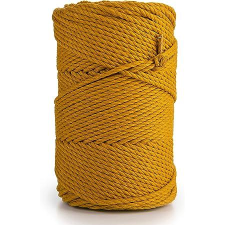 MB Cordas Macrame Corde 3mm couleur 135 m, 0,5 kg - Cordelette en Coton Coloré 3 Brins - Macramé Attrape-rêves, Suspension pour Plantes e Murale, Décor de Mariage - Moutarde