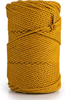MB Cordas Macrame Cord 3mm x 135m Soft 3 Strand Twisted Cotton Rope for Handmade, 3-ply Cotton Yarn String for Plant Hange...