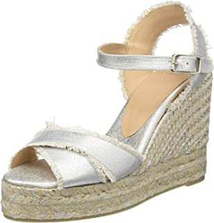 Castañer Womens Bromelia Silver Fabric Wedge Sandal with Fringe