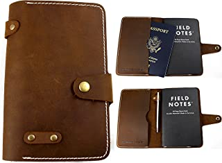 Leather Passport and Field Notes Cover - Made in the USA - Vintage, Minimalist Design - 100% Full-Grain Rustic Crazy Horse Leather - Fits Field Notes, Moleskin Cahier, and Pocket Rhodia