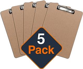 Portapapeles con Pinza (Pack de 5 Unidades), Tableros Rígidos con Clip Portablocks, Sujeta Papeles, Notas, Hojas - Tamaño Carta A4   Suministros de Oficina al por Mayor con Materiales Ecológicos