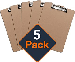 Clipboards (Set of 5) by Office Solutions Direct! ECO FRIENDLY Hardboard Clipboard Low Profile Clip Standard A4 Letter Size
