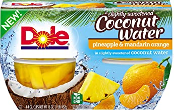 DOLE FRUIT BOWLS  Pineapple and Mandarin Orange in Slightly Sweetened Coconut Water, 4 Ounce (6 Cups)