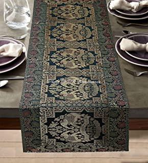 DK Homewares Indien Vert Foncé Brocart Nappe De Table 60 X 16 Pouces Décor Traditionnel Jacquard Rectangle 5 Ft Chemin De ...