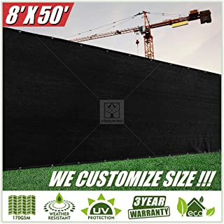 ColourTree 8' x 50' Black Fence Privacy Screen Windscreen, Commercial Grade 170 GSM Heavy Duty, We Make Custom Size