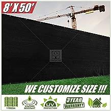 ColourTree 8' x 50' Black Fence Privacy Screen Windscreen, Commercial Grade 170 GSM Heavy Duty, We Make Custom Size