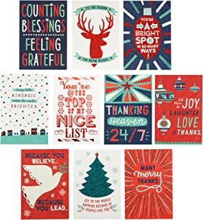 Hallmark Christmas Thank You Cards Assortment (10 Appreciation Cards with Envelopes for Teachers, Employees, Coworkers, Mail Carrier, Service Providers)