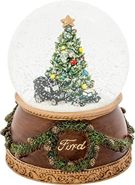 Roman Ford Model T Truck and V8 Holiday Tree 120MM Glitterdome Water Globe Plays What a Wonderful World