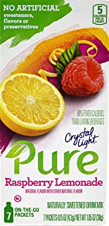 Crystal Light Pure Raspberry Lemonade On The Go Drink Mix, 7-Packet Box (4 Box Pack)