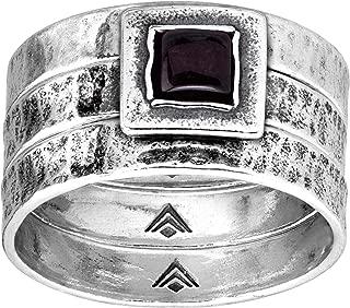 Gone To Gobi' 1/2 ct Natural Garnet Stacking Rings in Sterling Silver