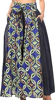 Sakkas Anisa African Wax Print Ankara Dutch Wide Leg Pants with Elastic Waist