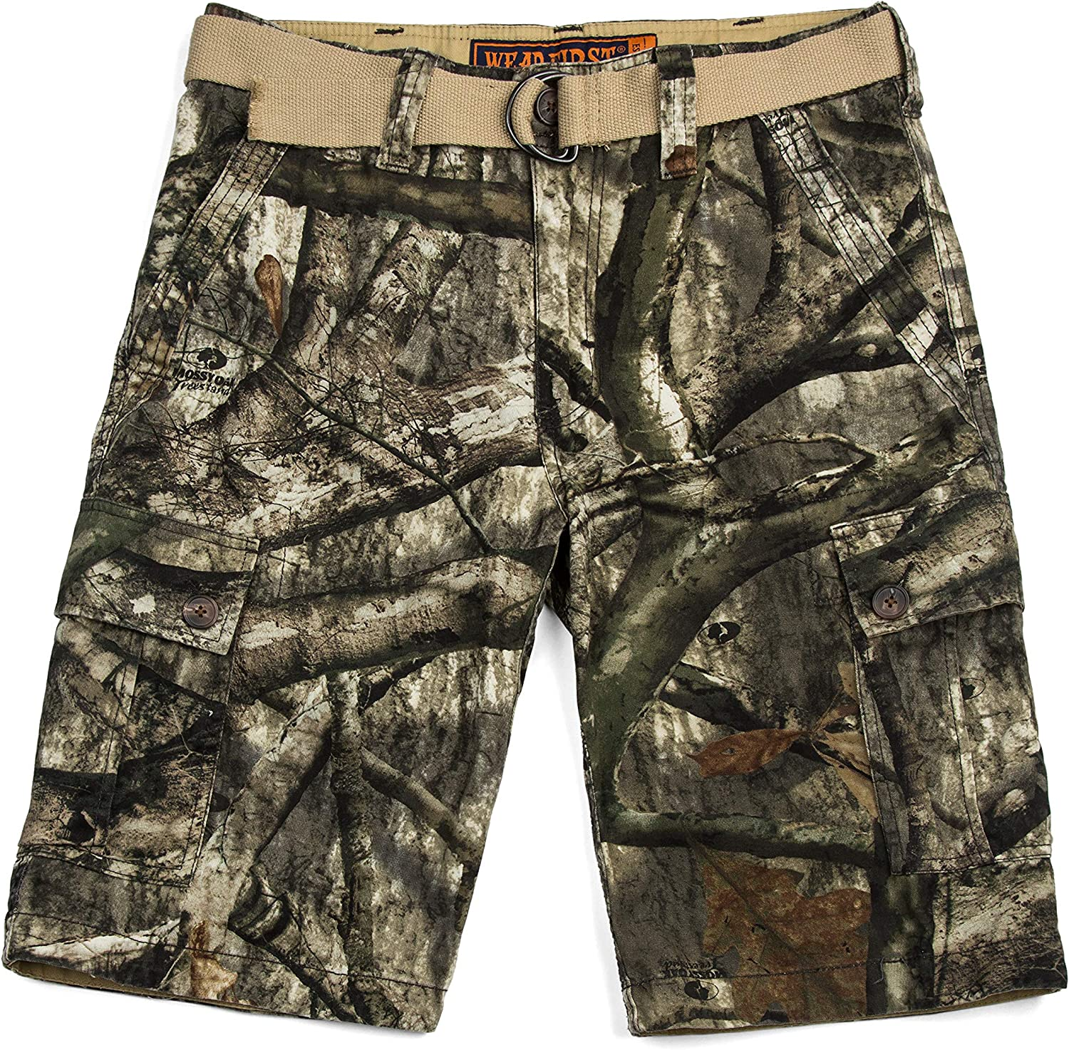 WEAR FIRST. THEN TELL THE DIFFERENCE Men's Mossy Oak Treestand Camo Belted Cargo Short with 6 Pockets, Size 34