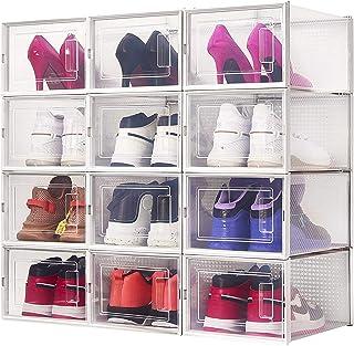 Meerveil Lot de 12 Boîte à Chaussures,35x25x18,7cm,Boîte de Rangement Transparent et Pliable pour Chaussures, Boîte de Ran...