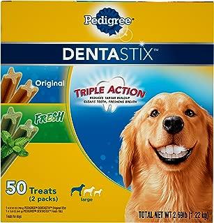 PEDIGREE DENTASTIX Fresh Breath Large Dog Dental Treats Original & Fresh Flavor Dental Bones Variety Pack, 2.69 lb. Pack (50 Treats)
