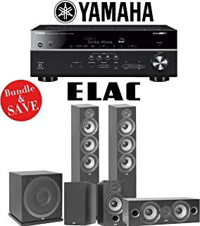 Elac F6.2 Debut 2.0 5.1-Ch Home Theater Speaker System with Yamah RX-V685BL 7.2-Channel 4K Network A/V Receiver