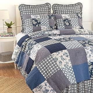C&F Home Bonnie 3 Piece Quilt Set All-Season Reversible Bedspread Oversized Bedding Coverlet, King Size, Blue