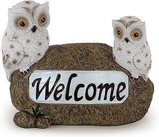 Welcome Owls Solar Powered Outdoor Decor LED Garden Light