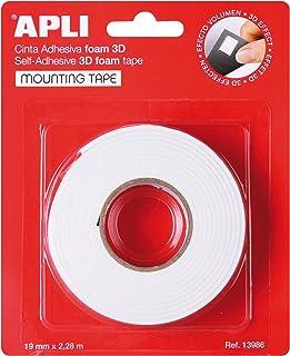 APLI 13986 - Cinta adhesiva foam doble cara (19 mm x 228 m) Blanco