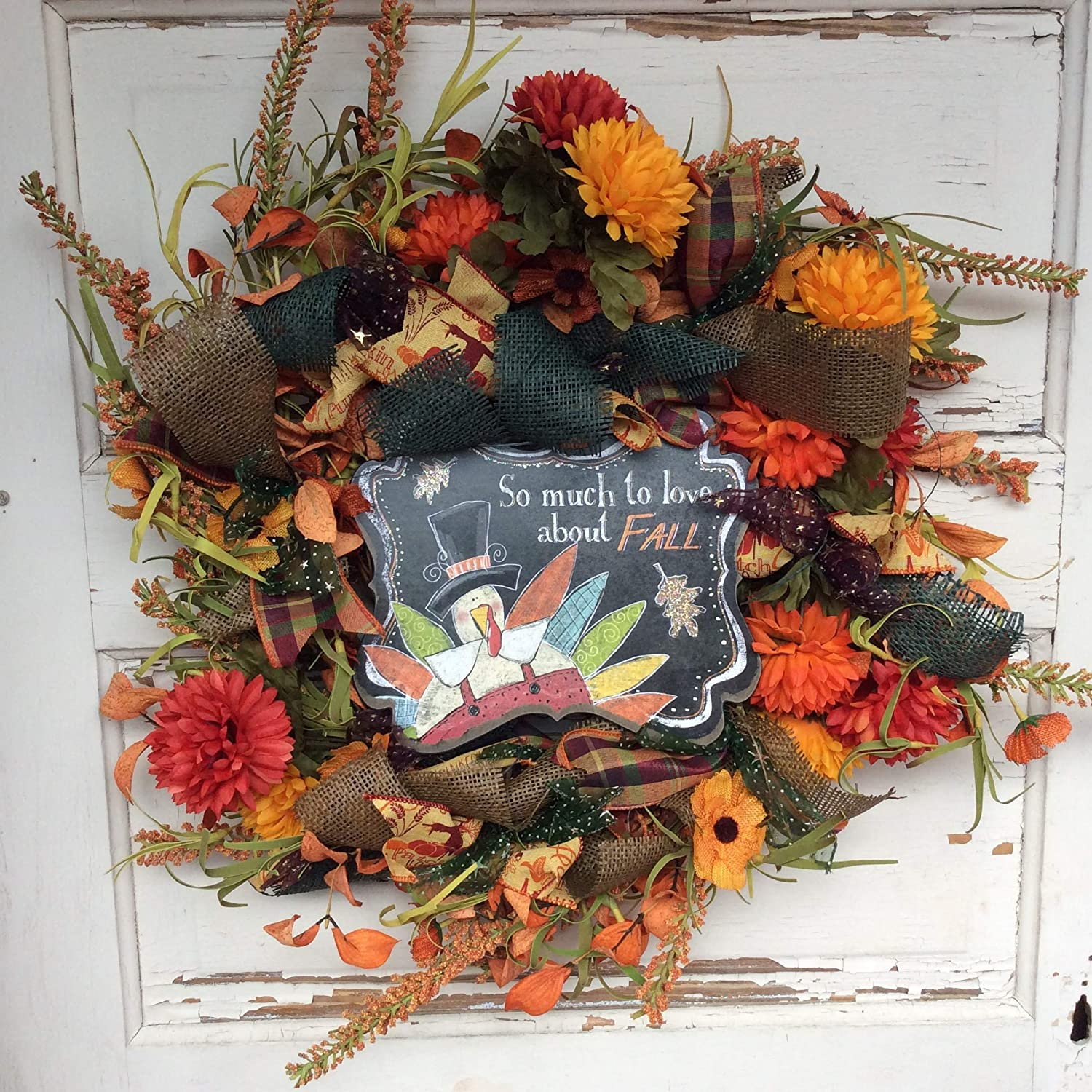 AG Designs Fall Harvest Decor Love Clearance SALE Limited time Mum Wreath discount -