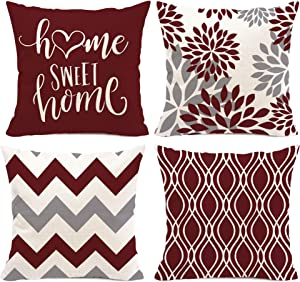 Hexagram Burgundy Modern Pillow Covers 18x18 Set of 4,Decorative Couch Throw Pillow Cover for Sofa Living Room,Linen Red and Cream Farmhouse Cushion Case Outdoor Home Decoration(Burgundy)