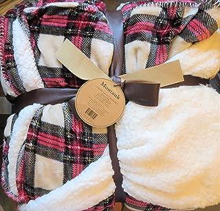 Montauk Luxury Velvet Reversible Queen/Full Blanket-Pink, Cream & Black Plaid