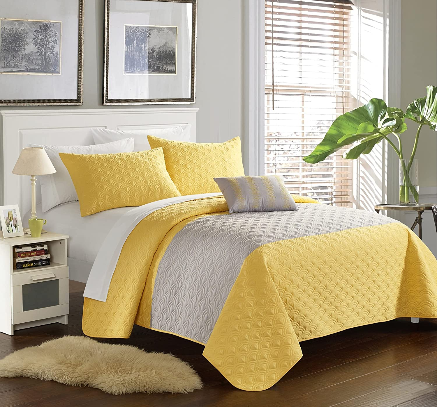 Chic Bombing new work Home QS1987-AN Max 88% OFF 4 Piece Geometric Dominic Embroidered Quilt