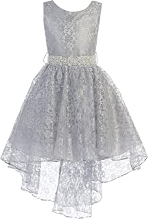 1a495ad60d BNY Corner High Low Floral Lace Rhinestones Pearl Belt Easter Pageant Flower  Girl Dress
