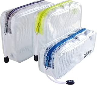 3 Pack Organizer Storage Packing Bags by GoToBag - Clear Water Resistant Solid Reinforced PVC Mesh Plastic with Zipper Closure - for Travel, Office, School, Arts and Craft, Purse, Cables, All-Purpose