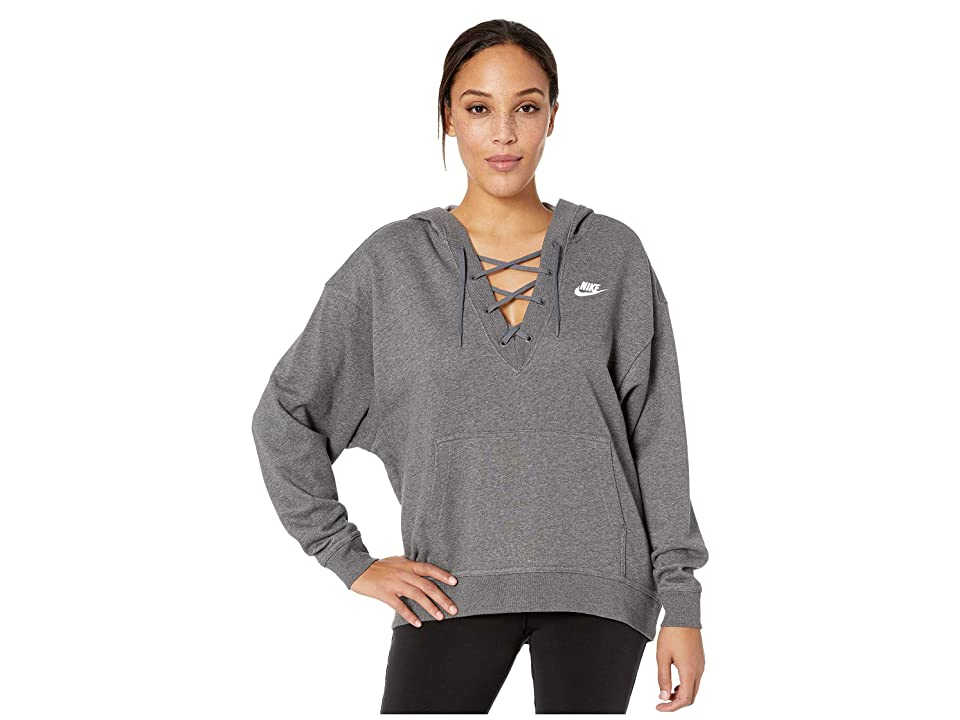 Nike Club Lace-Up Hoodie (Charcoal Heather/Charcoal Heather/White) Women