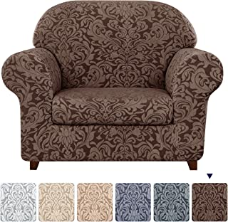 subrtex Sofa Slipcover 2-Piece Jacquard Damask Couch Cover with Seat Cushion Stretch Furniture Protector for Armchair in Living Room for Kids, Pets (Small,Brown)