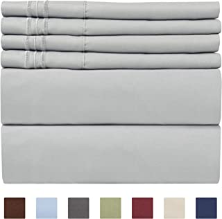 Queen Size Sheet Set - 6 Piece Set - Hotel Luxury Bed Sheets - Extra Soft - Deep Pockets - Easy Fit - Breathable & Cooling Sheets - Wrinkle Free - Grey - Light Grey Bed Sheets - Queens Sheets - 6 PC