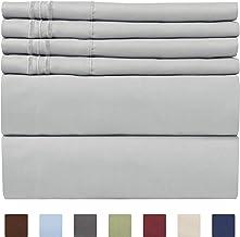 Split King Size Sheet Set - 7 Piece Set - Hotel Luxury Bed Sheets - Extra Soft - Deep Pockets - Easy Fit - Breathable & Cooling - Wrinkle Free - Comfy - Light Grey Bed Sheets - Split Kings Sheets